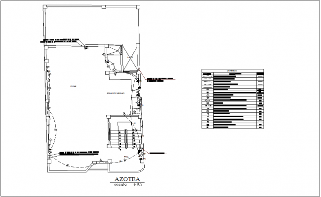 Roof top plan electrical view for house with electrical legend dwg file