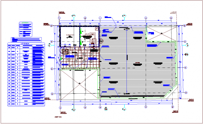 Roof top plan of banking area dwg file
