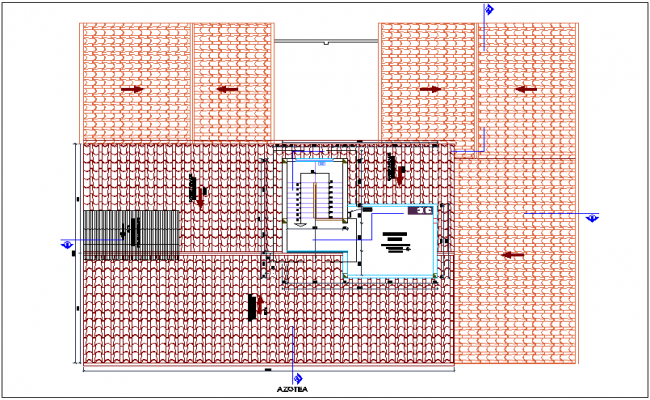 Roof top plan of hospital with architectural view dwg file