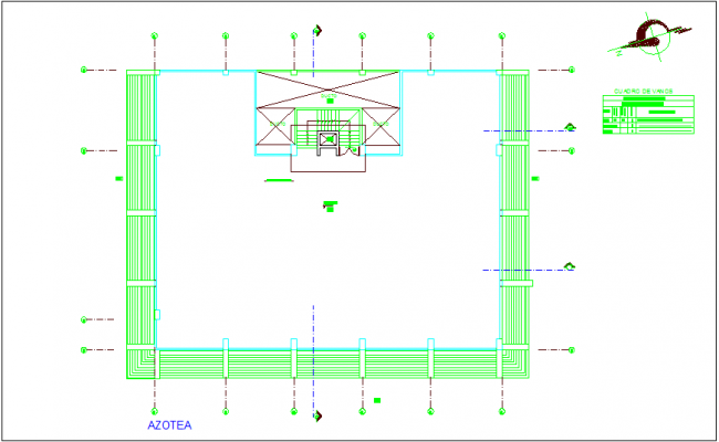 Roof top plan of municipal building dwg file