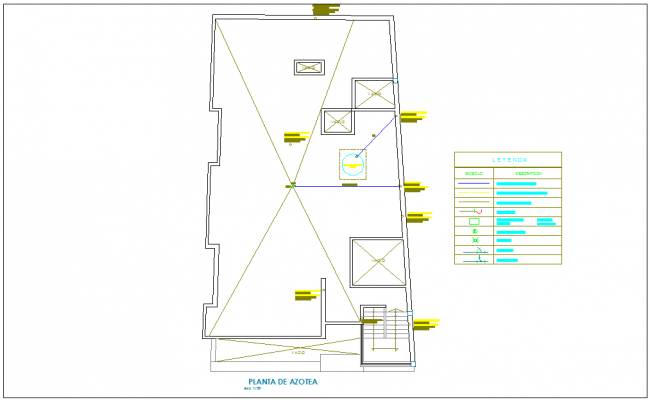 Roof top plan sanitary installation view with its legend for house with first level dwg file