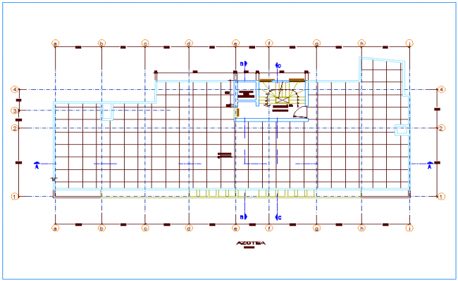 Roof top plan with construction view dwg file