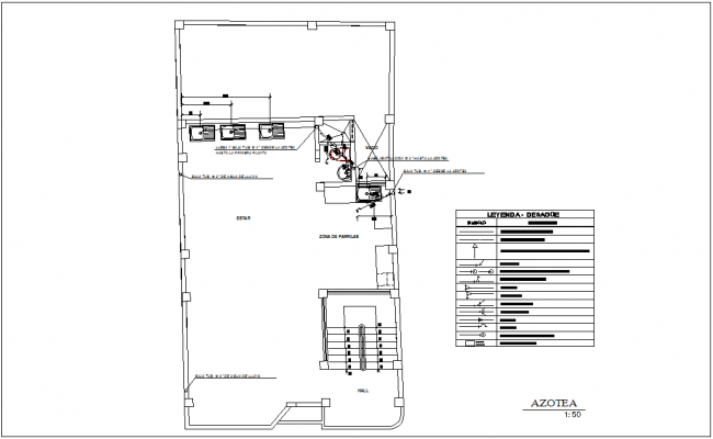 Roof top plan with sanitary view for family house dwg file