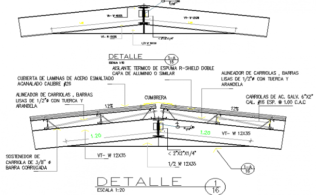 Roof type ceiling construction details of house dwg file