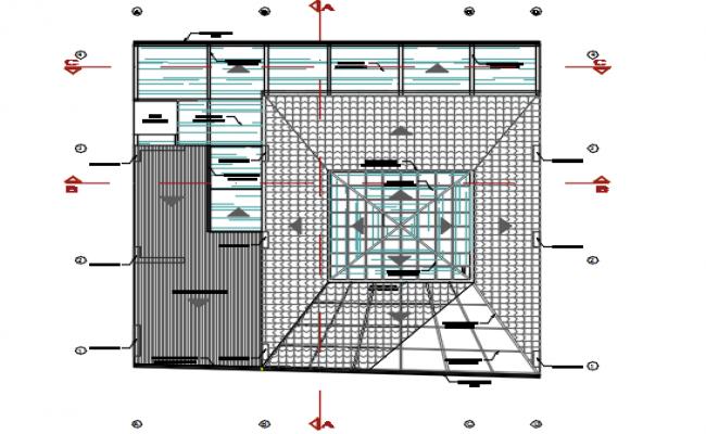 Roof working plan detail dwg file
