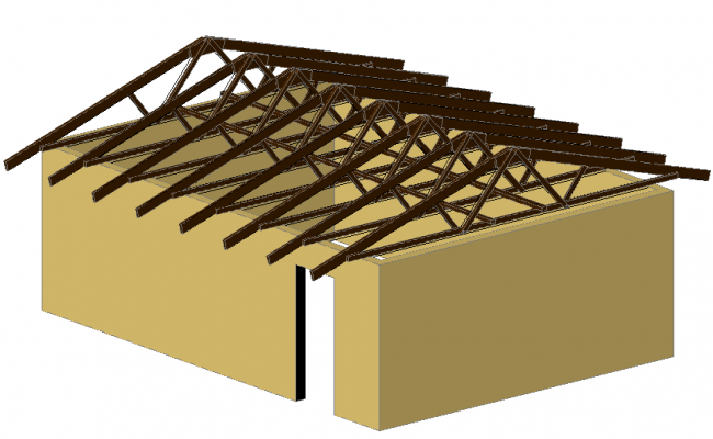 Roofing of wooden for school in 3d view