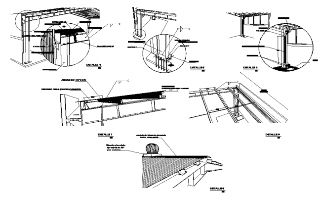 Roofing section plan dwg file