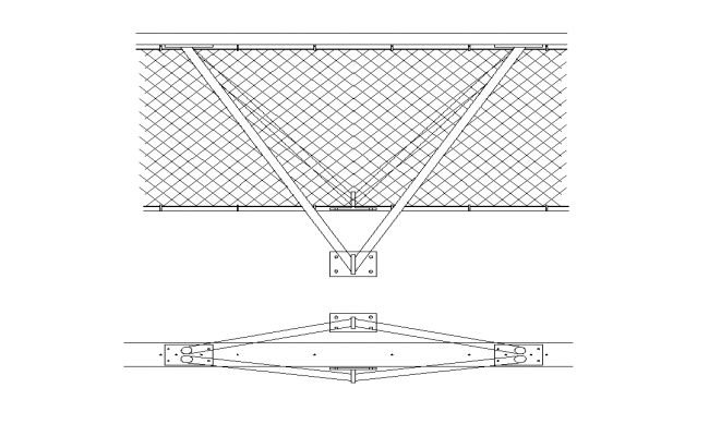 Roofing structure detail elevation 2d view layout autocad file