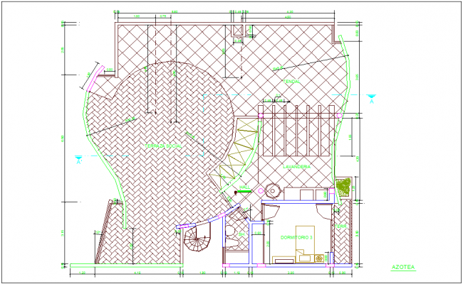 Rooftop plan of house with architecture view dwg file