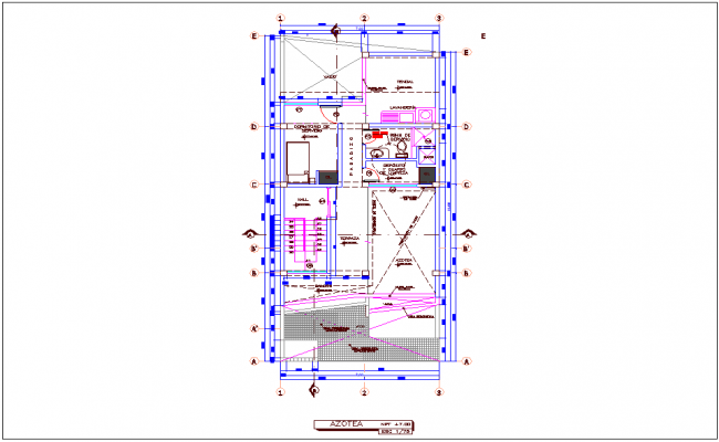 Rooftop plan view of single story apartment dwg file