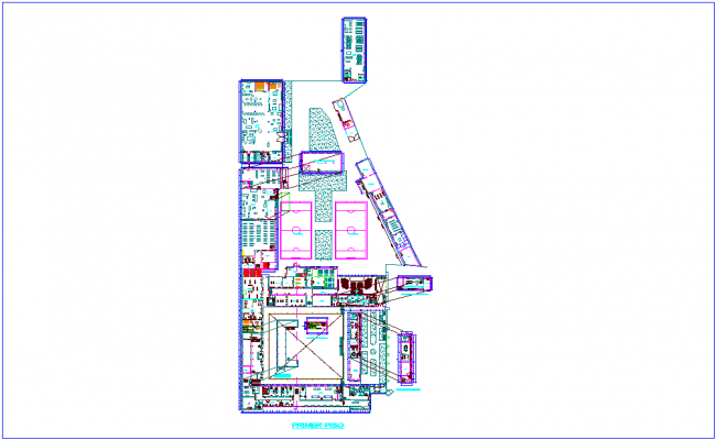Room of technical education with architectural view first floor plan dwg file