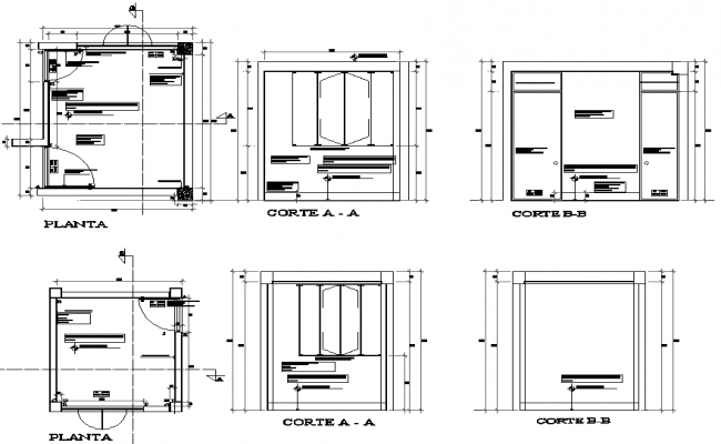 Room plan and section detail dwg file