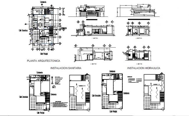 Rosary house elevation, section and floor plan details dwg file