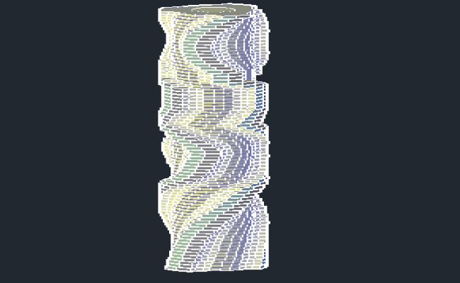 Rotating Tower 3D Design and Elevation dwg file