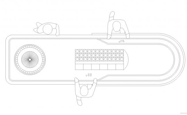 Roulette table plan detail dwg file.