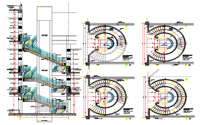 Round Shape Stair Design in DWG file