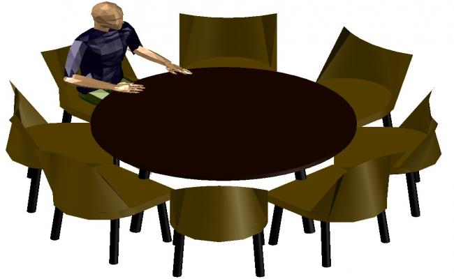 Round Table 3d Model Free Download CAD File