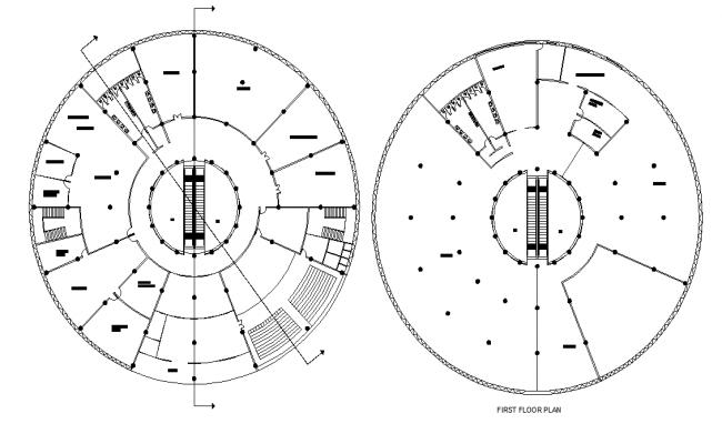 Round building plan autocad file