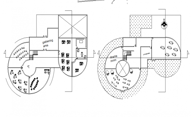 Round building plan detail dwg file