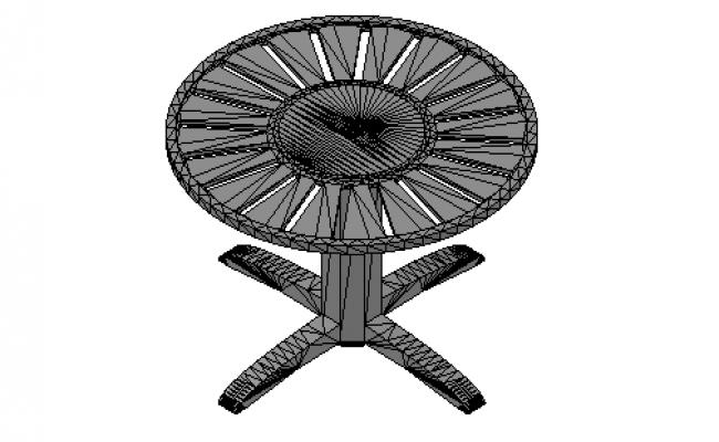 Round garden table 3d