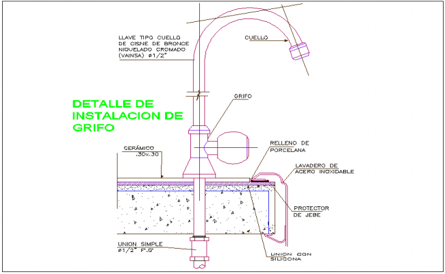 Round neck shaped designer tap with its installation view for laboratory of collage dwg file