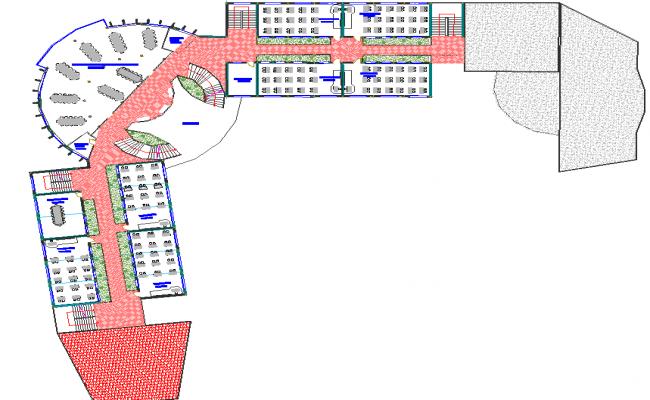 Round plan layout building detail dwg file