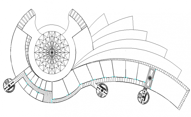 Round shape building detail dwg file