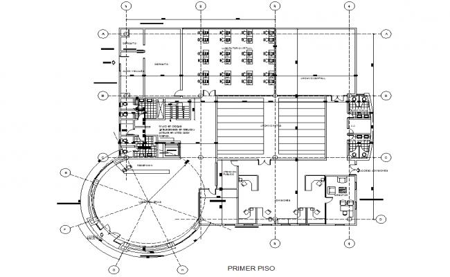 Round shape column building working plan detail dwg file