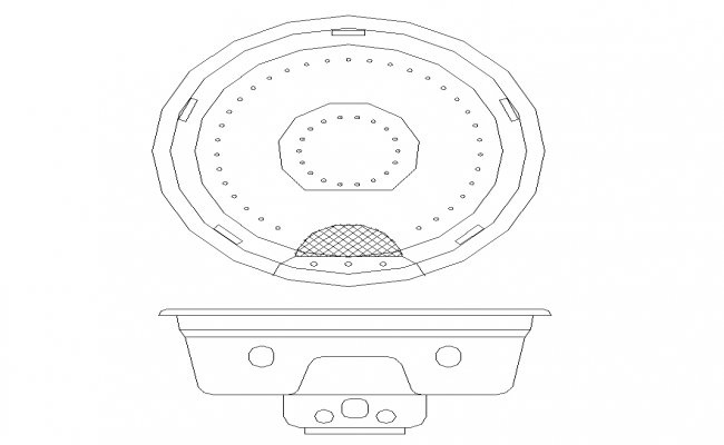 Round shape wash basin detail elevation 2d view CAD sanitary block dwg file