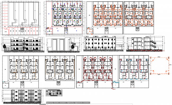 row house architecture plan and elevations in autocad dwg