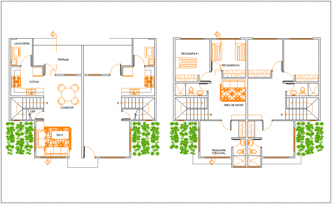 Row private home floor plan with architectural view dwg file