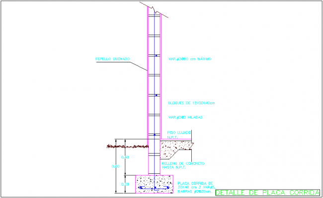 Running plate detail with construction view dwg file
