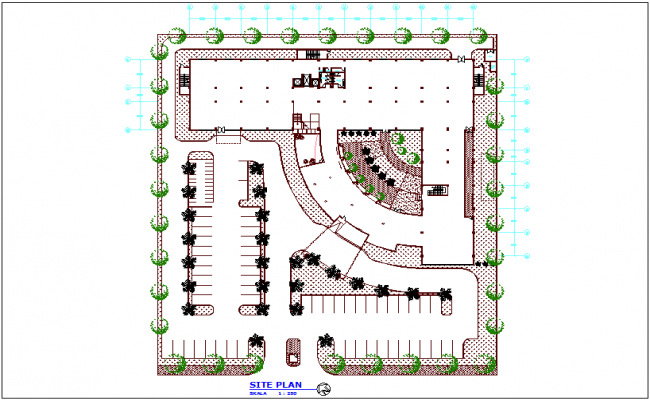 Rural area clinic architectural plan view dwg file