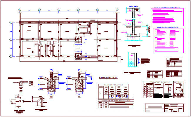 Rural medical post foundation plan with construction detail dwg file