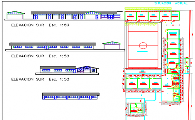 Rural school dwg file