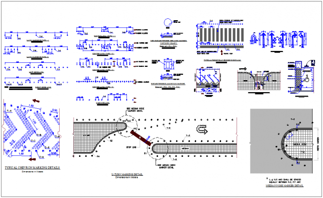 S-001 to 002-Standards, Pavement Marking Details dwg file