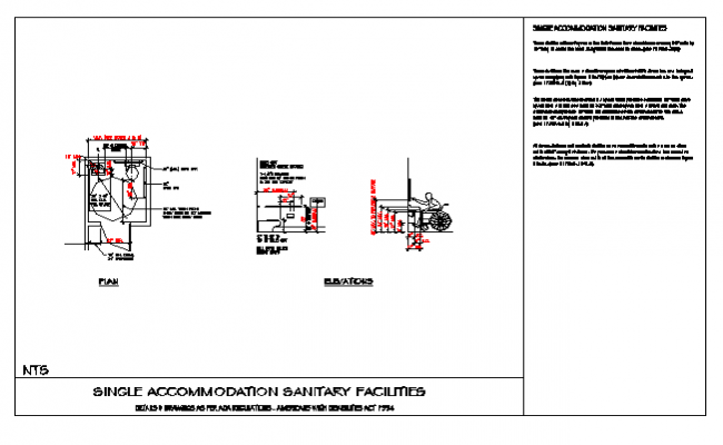 SINGLE ACCOMMODATION SANITARY FACILITIES disable toilet design drawing