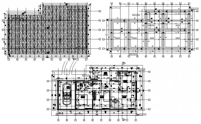 SIngle family residential house plan with roof autocad file
