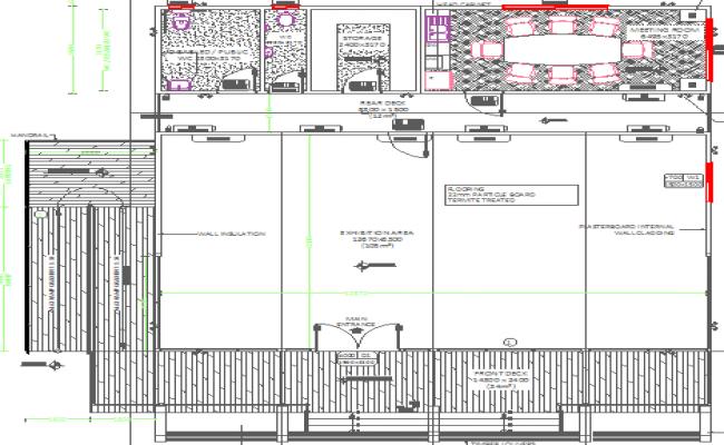 Sales office modular design details dwg file