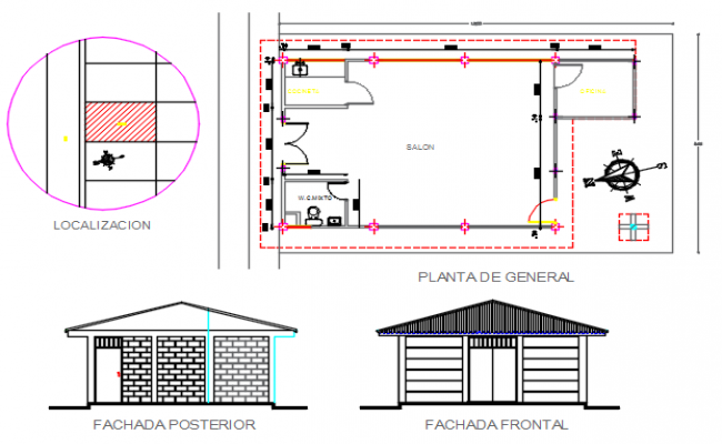 Salon Plan and elevation north direction detail dwg file