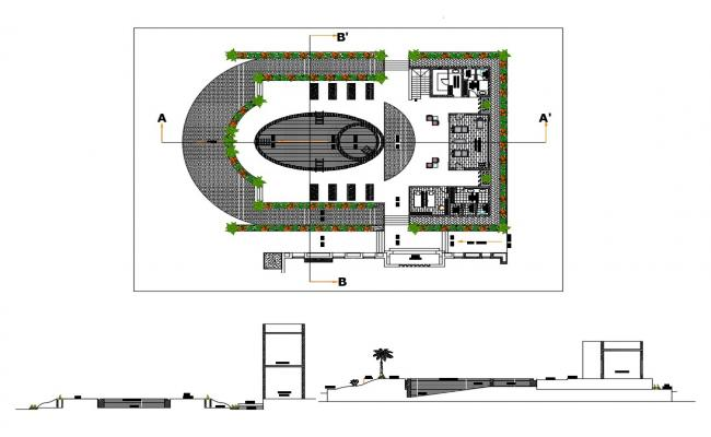 Salon building main section and distribution plan details dwg file