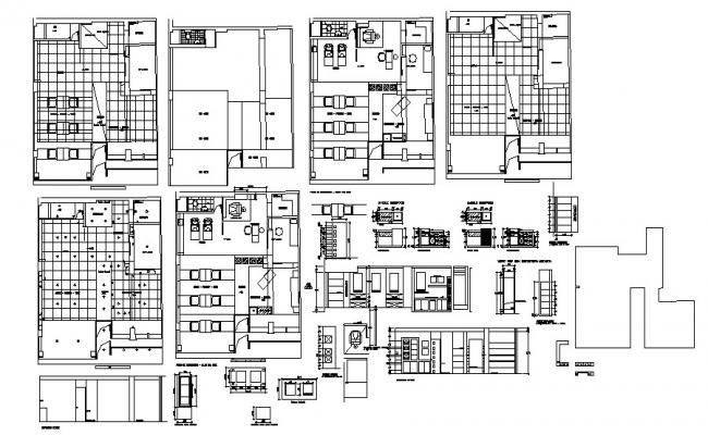 Salon drawing with elevations in autocad