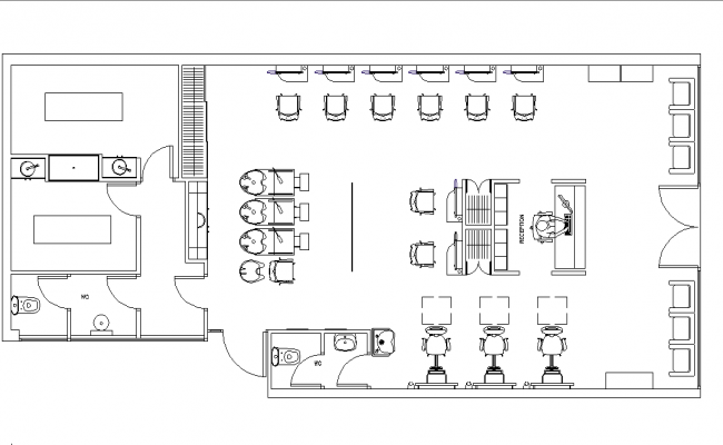 Saloon layout plan dwg file