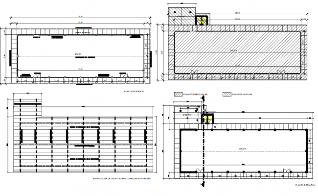 Saloon plan hatching detail dwg file