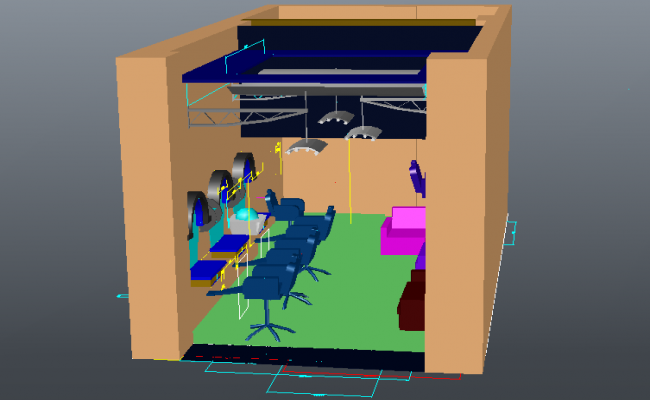 Saloon shop 3d view with architectural view dwg file