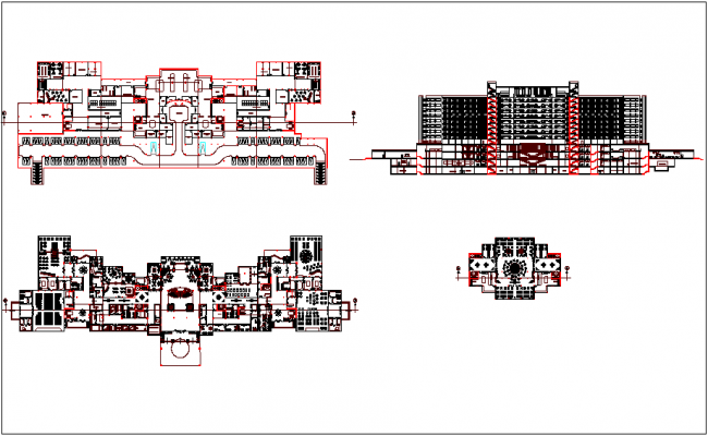 Sama hotel plan and elevation dwg file