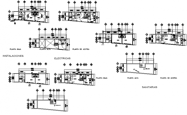 Sanitary, hydraulic and electrical plan detail dwg file