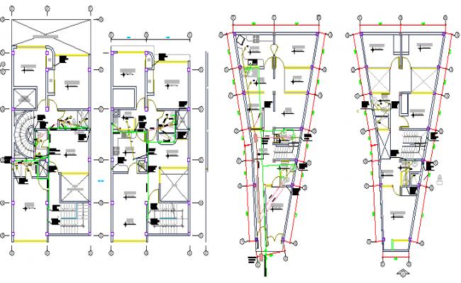 Sanitary Installation of Three Flooring Housing Project dwg file