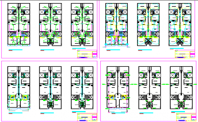 Sanitary and electric installation of multi-flooring housing building dwg file