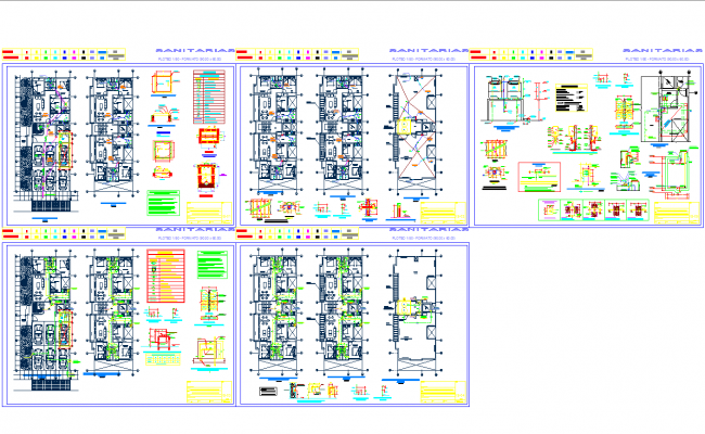 Sanitary and plumbing detail for house cad drawing for Free online cad system